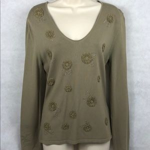 Max Studio top with bead & flower embellishments S